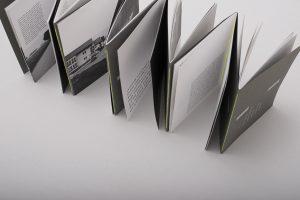 Das Buch hat einen Leporellofalz und wird aufgestellt von schräg oben aufgeblättert gezeigt