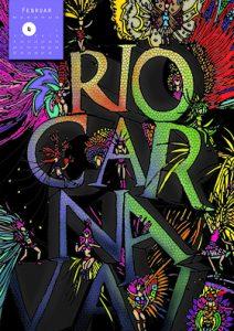 Kalenderblatt im Hintergrund illustrative Sambatänzerinnen. Rio Carnaval als Typografie