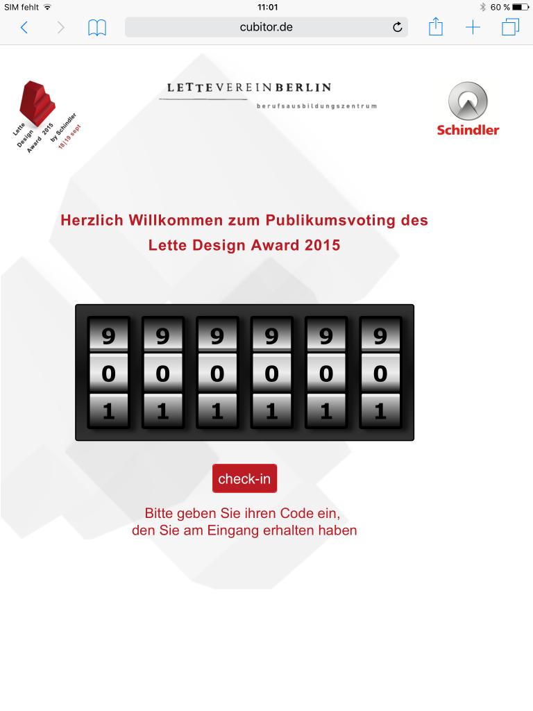 """Votingmodul für """"Lette-Design-Award"""""""