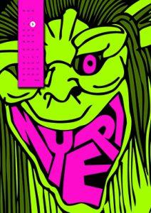Kalenderblatt Comicfigur mit grüner Gesichtsfarbe und den Buchstaben NYEPI als Mund O als Iris im Auge