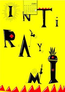 Kalenderblatt Juni, Typografisch die Buchstaben INTiRAYMI werden comichaft dargestellt