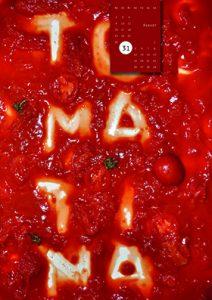 Kalenderblatt zeigt das Wort Tomatina in Tomatensosse geschrieben
